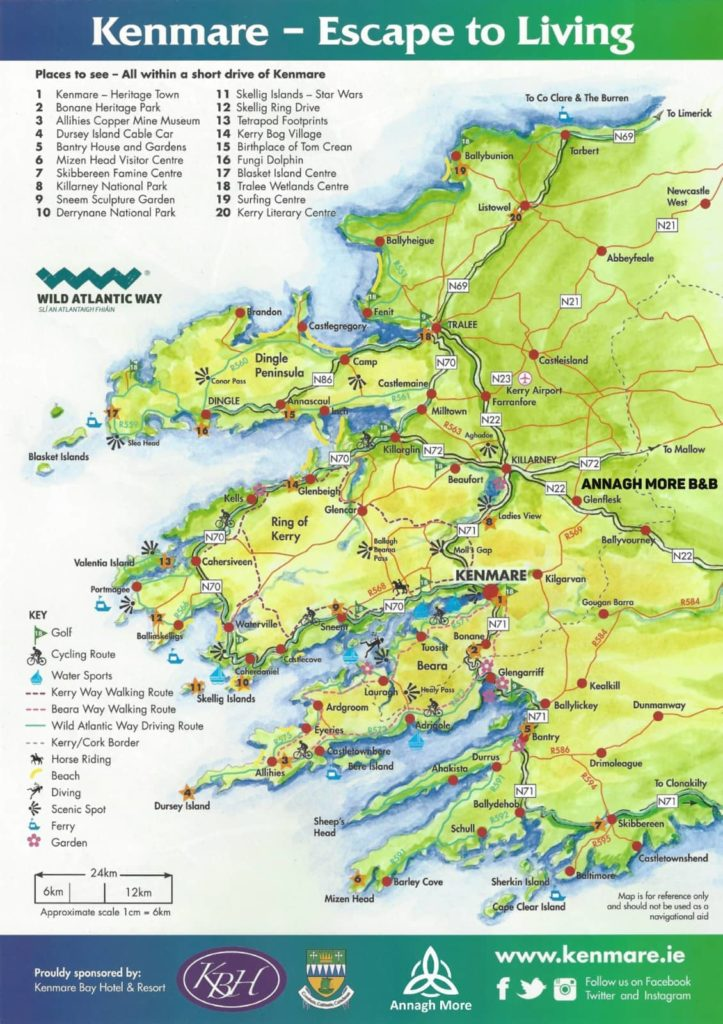 Annagh Moer B&B - Map of Co. Kerry